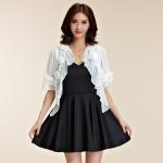 เสื้อแฟชั่นผ้าคลุมไหล่ชีฟองกันแดด ผูกชาย สีขาว/สีดำ (F,XL,2XL,3XL)