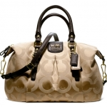 Coach new MADISON OP ART SATEEN JULIETTE # 21124 สี Khaki Mahogani