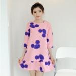 """size L""""พร้อมส่ง""""เสื้อผ้าแฟชั่นสไตล์เกาหลีราคาถูก เดรสสีชมพูลายมิกกี้เม้าส์สีน้ำเงิน แขน 3ส่วน ชายระบาย ซิปหลัง ไม่มีซับใน"""
