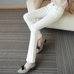 กางเกงยีนส์ทรงบูทคัท ปลายขาบานนิด ๆ สีขาว (S,M,L,XL,2XL,3XL,4XL,5XL)