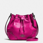 Coach Baby Mickie Drawstring Shoulder Bag in Grain Leather # 35363 สี CRANBERRY