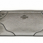 Coach Mickie Accordion Zip Wallet in Grain Leather # 52645 สี Silver