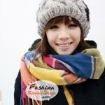 ผ้าพันคอแฟชั่นลายสีสวยหรู Luxury : สีรุ้ง CK0119