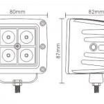 สปอตไลท์ LED สี่เหลี่ยม 4x3W 12w โคมหล่อ 12V 24V