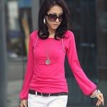 เสื้อยืดแขนยาว สีชมพู XL 2XL 3XL 4XL