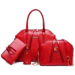 ***พรีออเดอร์ * กระเป๋า 4 ใบเซท สีแดง หนังจรเข้ ประกอบไปด้วย กระเป๋าถือ กระเป๋าสะพายข้าง กระเป๋าสตางค์ และ กระเป๋าใส่กุญแจ ผลิตจากหนัง PU คุณภาพดี หนังมันเงา ดีไซน์เรียบหรู ไม่ว่าจะหิ้วหรือสะพายก็ดูดีมาก มาก