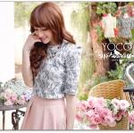 ♡♡pre-order♡♡ เสื้อผ้าเกาหลี คอกลมผ้าคอตตอนเนื้อดีนิ่มพร้อมผ้าลูกไม้สวยหวานๆ แขนยาวประมาณข้อศอก สวยน่ารักดูหรูหรามากๆ ค่ะ