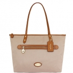 COACH SAWYER TOTE TOP ZIP SHOPPER CANVAS HANDBAG # 37237 สี IMITATION GOLD/STONE