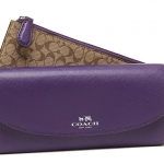 COACH DARCY LEATHER SLIM ENVELOPE WALLET WITH POUCH # 52144 สี SILVER / VIOLET