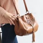 """""""พร้อมส่ง""""กระเป๋าแฟชั่น PG กระเป๋าสะพายทรงขนมจีบ ใบกะทัดรัด แต่งหมุด น่ารักค่ะ- สีน้ำตาล"""