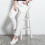 ♥พร้อมส่ง♥ กางเกงยีนส์สีขาวขายาวสำหรับสาวอวบ แต่งขาด ๆ (42)