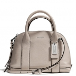 Coach Bleecker Mini Preston Satchel in Pebbled Leather # 30143 สี Silver/Ecru