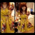 เสื้อผ้าแฟชั่นพร้อมส่ง Floral dress เดรสผ้าซาตินเนื้อนิ่มพิมพ์ลายดอกไม้ มีซับในทั้งตัว -สีเหลือง