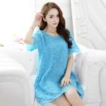 เดรสผ้าลูกไม้ไซส์ใหญ่ สีฟ้า/สีชมพู (XL,2XL)