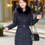เสื้อกันหนาวตัวยาวไซส์ใหญ่ ผ้าหนา ปกขนเฟอร์ มีฮู้ดขนเฟอร์ สีเนวี่บลู (XL,2XL,3XL,4XL,5XL)
