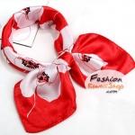ผ้าพันคอ ผ้าคาดผมเนื้อไหมญี่ปุ่น : ลายดอกไม้พื้นสีแดง MJ0026