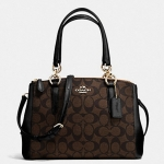 COACH MINI CHRISTIE CARRYALL IN SIGNATURE # 36718 สี IMITATION GOLD/BROWN/BLACK