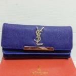 กระเป๋าสตางค์ อีฟแซง - YSL  แบบยาว 3 พับ 2 ชั้น ขนาด  4x7.5  นิ้ว สีน้ำเงิน