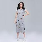 [PRE-ORDER] ชุดเดรสผ้ายืดสีเทาสกรีนลายการ์ตูน แขนในตัว สวยน่ารักมากๆค่ะ (XL,2XL,3XL,4XL,5XL)