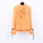 เสื้อเชิ้ตชีฟองผสมลินินเนื้อดี สีเหลือง แขนกระดิ่งแต่งโบว์ดำเก๋ ๆ ช่วงคอเสื้อมีโบว์ผูกสวย ๆ (XL,2XL,3XL)