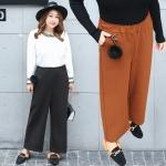 กางเกงขายาวเอวยางยืดสาวอวบ สีดำ/สีคาราเมล (XL,2XL,3XL) QK018