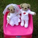 ตุ๊กตาถักไหมพรมหมีคู่แต่งงาน ขนาด 12 นิ้ว  <<  ขายแล้ว >>