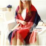 ผ้าพันคอไหมพรมแฟชั่นสไตล์เกาหลี ลายสก๊อต : สีฟ้าแดง GH0014