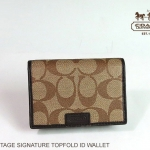 Coach Men's Chelsea Topfold ID Wallet # 74760 สี Khaki/Brown