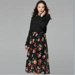 ชุดเดรสผ้าชีฟองชุดยาวไซส์ใหญ่ สีดำ/สีแอปริคอท(เบจ) (XL,2XL,3XL)