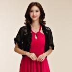 เสื้อคลุมชีฟองผ้ากันแดด ไหล่ผ้าลูกไม้ เอวลอย สีขาว/สีดำ (XL,2XL,3XL)
