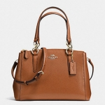 COACH MINI CHRISTIE CARRYALL IN CROSSGRAIN LEATHER # 36704 สี IMITATION GOLD/SADDLE