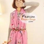 ผ้าพันคอแฟชั่นลายกระต่ายน้อยน่ารัก : สีชมพู CK0121