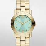 Marc by Marc Jacobs Ladies Amy Gold Tone Mint Dial Watch 36mm - MBM3301