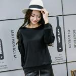 เสื้อทีเชิ้ตสีดำไซส์ใหญ่ คอกลม แขนยาวแต่งผ้าลูกไม้ (XL,2XL,3XL,4XL)