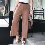 กางเกงขายาว เอวยืด ขากว้างใส่สบาย สีน้ำตาล/สีดำ (XL,2XL,3XL,4XL) C8643