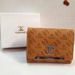 กระเป๋าสตางค์ Chanel มาใหม่ แบบสั้น 3 พับ งานสวยหนังปั๊ม มีช่องใส่เหรียญ ขนาด 4x5  นิ้ว