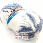 ไหมขนแกะสัมผัสนุ่ม รหัสสี M05 สีขาว-สีฟ้าคราม