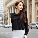 เสื้อชีฟองแขนยาวไซส์ใหญ่สไตล์เกาหลี สีดำ (F,XL,2XL,3XL,4XL,5XL)