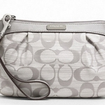 COACH SHANTUNG PLEATED MEDIUM WRISTLET # 48754 สี Silver/Gray/Gray