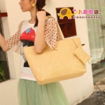 กระเป๋าแฟชั่นXiaoxiang กระเป๋าสะพายลายสาน มีใบเล็กให้อีก1 ใบ สีครีม