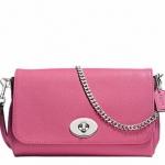 Coach Mini Ruby Crossbody Small bag Handbag # 34604 สี Silver/Sunset Red