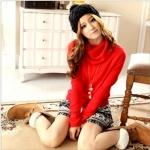 """""""พร้อมส่ง""""เสื้อผ้าแฟชั่นสไตล์เกาหลีราคาถูก Brand Tokyo Fashion เสื้อไหมพรมกันหนาว คอเต่า แขนยาว -สีแดง"""