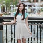 """""""พร้อมส่ง""""เสื้อผ้าแฟชั่นสไตล์เกาหลีราคาถูก Brand Cherry dress เดรสผ้าชีฟองแขนบ่าล้ำ กระโปรงอัดพลีต มีซับใน"""