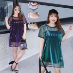 เสื้อยืดสาวอวบ 2 ชิ้น สีชมพู/สีม่วง/สีเขียวแกมน้ำเงิน/สีมิดไนท์บลู (XL,2XL,3XL,4XL) YT025