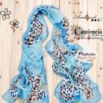 ผ้าพันคอแฟชั่นลายเสือดาว : สีฟ้า CK0373