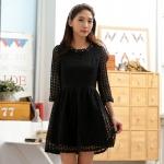 ชุดเดรสเจ้าหญิง สีขาว/สีดำ ผ้าออแกนซ่า คอเสื้อติดไข่มุกประดับเพชร (XL,2XL,3XL)
