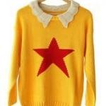 """""""พร้อมส่ง""""เสื้อผ้าแฟชั่นสไตล์เกาหลีราคาถูก เสื้อไหมพรมถักกันหนาว คอปกสีครีม ตรงกลางเป็นรูปดาว -สีเหลือง"""
