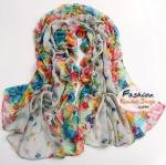 ผ้าพันคอแฟชั่นลายดอกไม้ Blossom : สีเทา CK0335