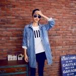เสื้อแจ็คเก็ตยีนส์สลิม ไซส์ใหญ่ สีฟ้าอ่อน (XL,2XL,3XL,4XL,5XL)