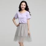 ชุดเดรสไซส์ใหญ่ตัดต่อผ้า สีม่วงอ่อน เสื้อคอตต้อนลายขวาง กระโปรงออแกนซ่า เอวยางยืด (XL,2XL,3XL,4XL)